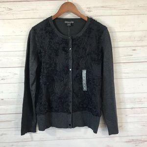 NWT Covington Lace Front Cardigan Sweater Sz Large